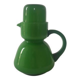 Vintage Green Opaque Cased Glass Bedside Carafe Set For Sale