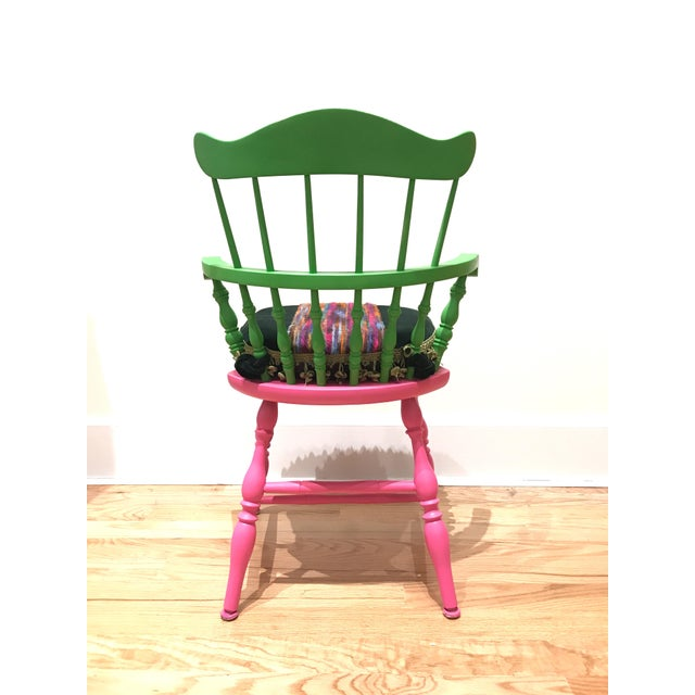 Vibrant Colorful Comb Back Chairs - A Pair - Image 5 of 7