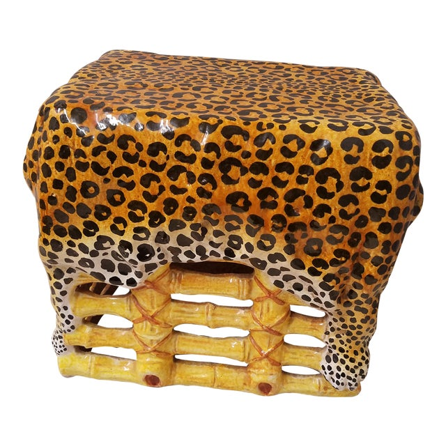 Chic Hollywood Regency Leopard & Bamboo Terra Cotta Garden Stool Italy For Sale