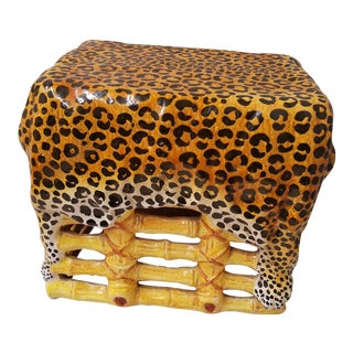 Italian Terra Cotta Hollywood Regency Leopard Skin & Bamboo Garden Seat