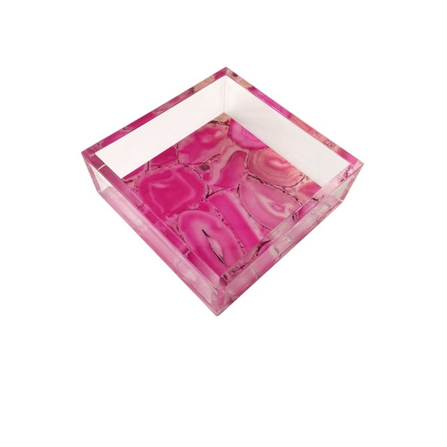 Dwm   Maloos Lucite Pink Agate Pattern Tray For Sale - Image 9 of 9