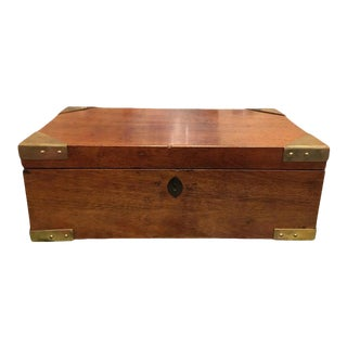 English Regency Mahogany Travelling Sloped Lap Desk Box, 19th Century For Sale