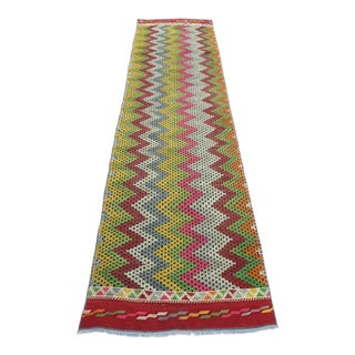 Turkish Bergama Nomad's Embroidery Kilim Rug Runner For Sale