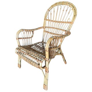 Franco Albini Style Midcentury Stick Rattan Lounge Chair For Sale