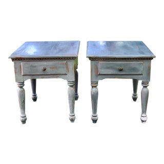 Ducks Unlimited Farmhouse One Drawer Side Tables - a Pair For Sale