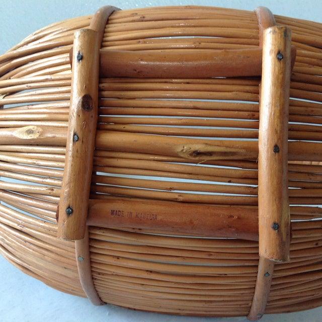 Vintage Handmade Wicker Rattan Basket For Sale - Image 9 of 9