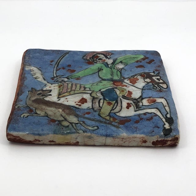 Blue 19th Century Antique Persian Qajar Hunter on Horse Ceramic Tile For Sale - Image 8 of 12