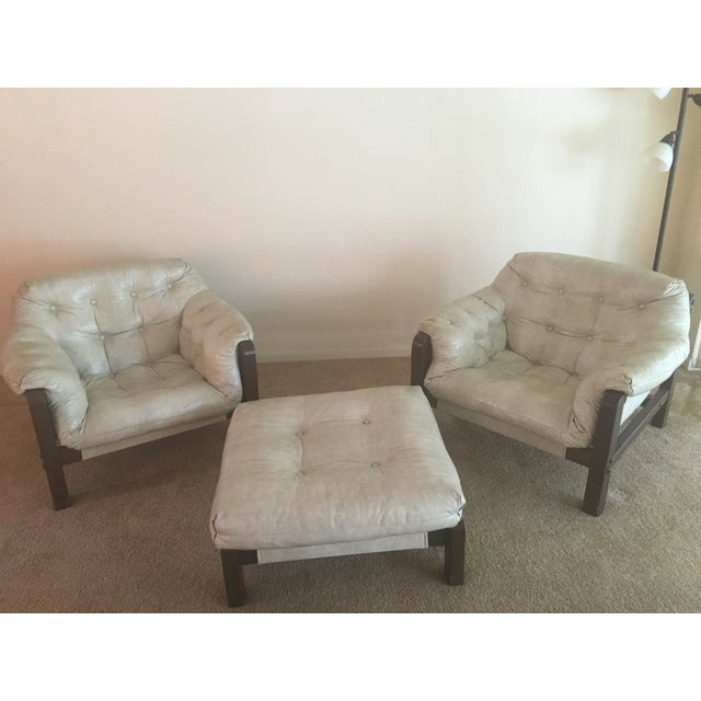 Mid-Century Sling Chairs & Ottoman - Set of 3 - Image 2 of 5