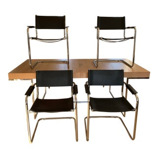 1980s Mart Stam S34 Leather and Chrome Cantilevered Chairs - Set of 4 For Sale