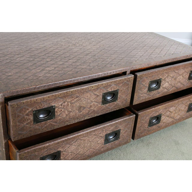 High Quality Leather Wrapped Coffee Table with 8 Drawers, Recessed Brass Hardware and Turned Wood Feet Store Item#: 23537