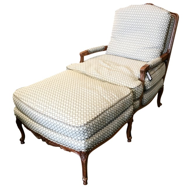 French Country Baker Upholstered Chair & Ottoman - Image 1 of 10