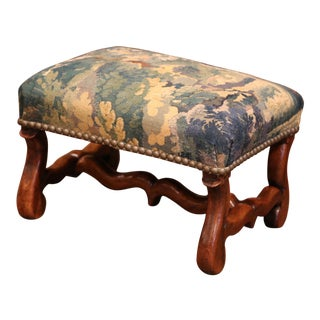 19th Century French Carved Walnut Footstool with 18th Century Aubusson Tapestry