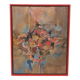 Abstract Expressionist Oil Signed S. Stevens, Circa 1960s For Sale