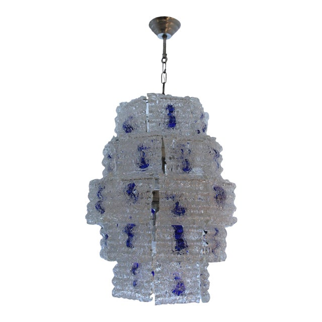Mazzega Steel and Glass Chandelier For Sale