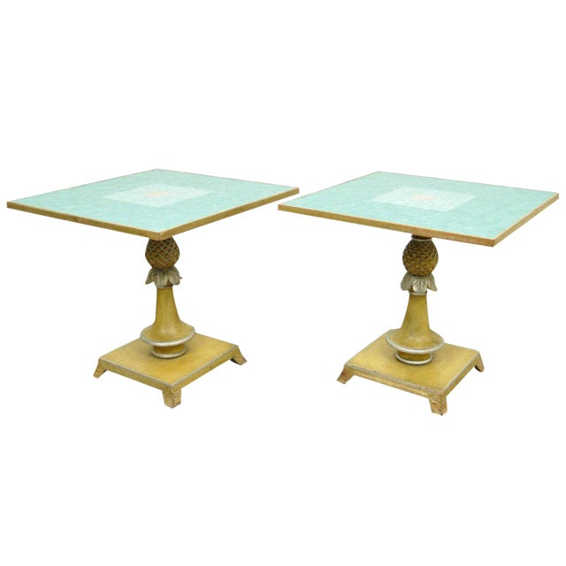 1950s Italian Carved Wood Blue Tile Top Pineapple Pedestal Tables - a Pair For Sale