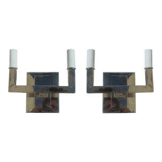 Hi-Polish Nickel Art Deco Sconces - A Pair For Sale
