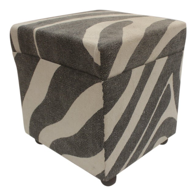 """Chic handmade ottoman crafted using wood and upholstered using hand woven kilim is a multi-purpose fashion pouf which..."