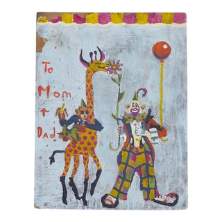 Clown, Giraffe and Monkey Circus Painting For Sale