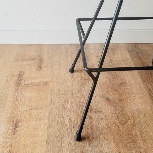 Mid 20th Century Newly Uphostered Mid-Century Modern Iron Counter Stools - a Pair For Sale - Image 5 of 10
