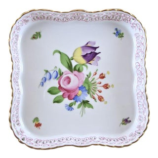 Herend Reticulated Pierced Square Tray With Floral Bouquet For Sale