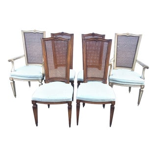 Set of 6 Cane Back French Provincial Dining Chairs For Sale