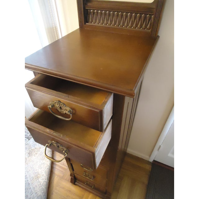 Late 19th Century 1870- 1893 Antique Nelson Matter & Co. Mahogany Carved Wood File Storage Cabinet For Sale - Image 5 of 11