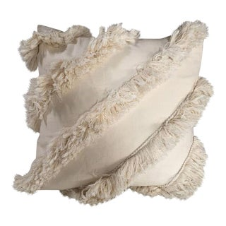 Kim Salmela Ivory Fringe Pillow For Sale