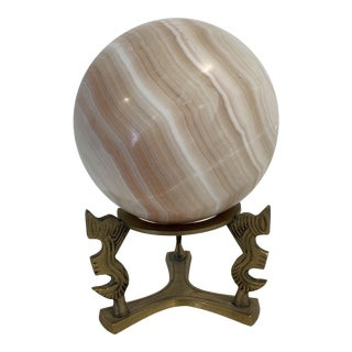 Onyx Ball Sculpture With Brass Stand For Sale