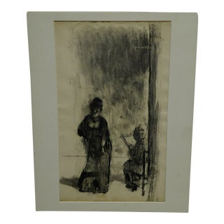 "Tomasello Original ""The Harpy and the Old Lady"" Matted Black & White Monotype For Sale"