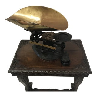 Antique Scale With Copper Pan and Weights For Sale