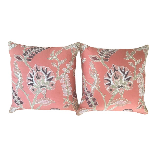 Custom Embroidered Pillows With Down Fill - A Pair - Image 1 of 7