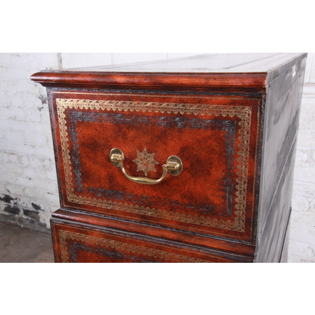 Maitland Smith Flame Mahogany and Leather Chest on Chest Highboy Dresser For Sale - Image 11 of 13