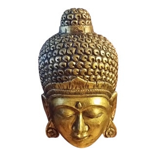 Gilded Hanging Buddha Head Wall Sculpture For Sale