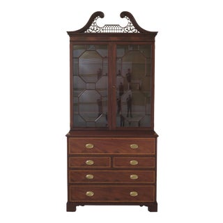 1980s Traditional Baker English Style Mahogany Secretary Desk/Bookcase For Sale