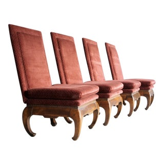 Rust Velvet Chinoiserie Slipper Chairs, Set of 4 For Sale
