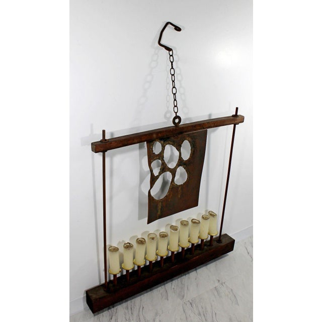 Brutalist Mid Century Modern Large Brutalist Metal Wood Hanging Candelabra by W. D. Bauss For Sale - Image 3 of 9