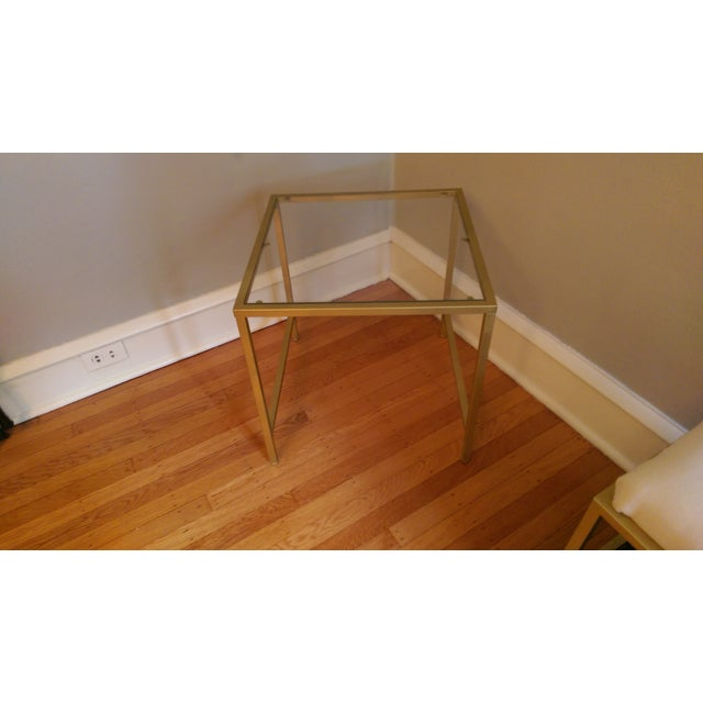 Gold Framed Side Table with Glass Top - Image 2 of 6