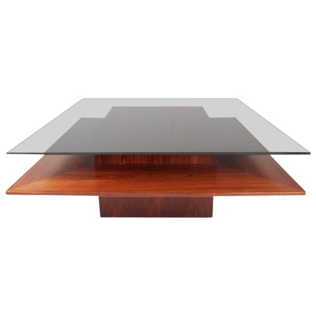 Mid-Century Teak & Glass Two-Tier Coffee Table