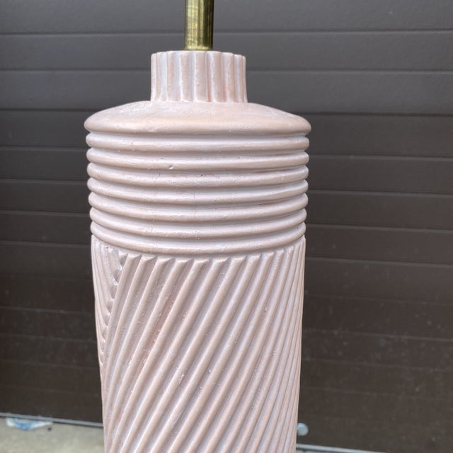 Mid-Century Modern 1980s Pink Reeded Plaster Floor Lamp For Sale - Image 3 of 13