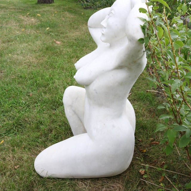 White Marble Nude Sculpture - Image 5 of 11