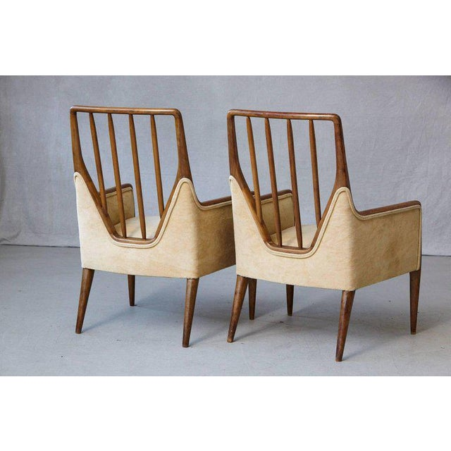 Pair of Mid-Century High Back Walnut Lounge Chairs For Sale In New York - Image 6 of 10