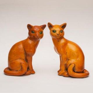 Rare English Art Deco Ceramic Cat Bookends, C. 1930s Preview