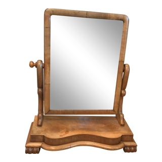 Antique Tilting Wooden Shaving Vanity Mirror For Sale