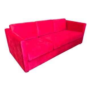 1960s Restored Red Velvet Sofa For Sale