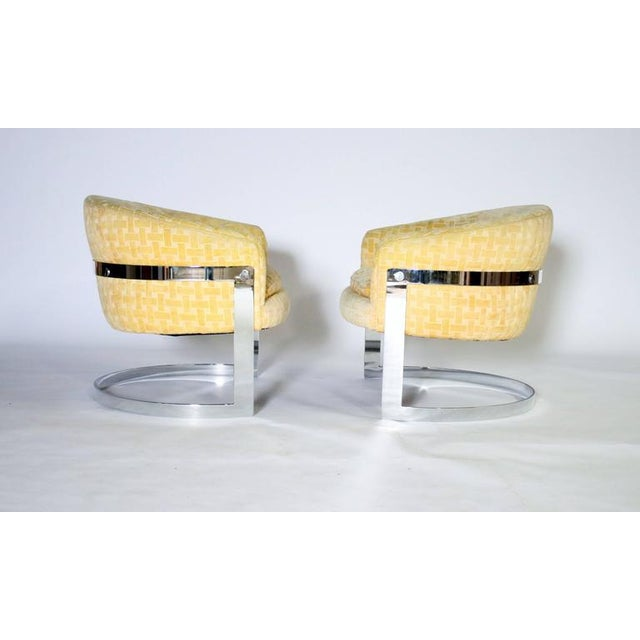 Thayer Coggin Milo Baughman Mid-Century Modern Cantilevered Chrome Barrel Chairs For Sale - Image 4 of 7