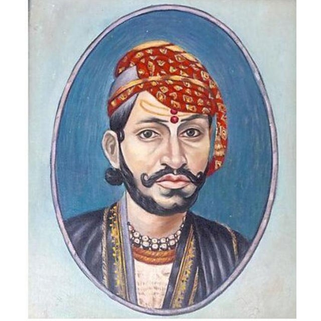 Mid-Century Modern Indian Maharaja Portrait Painting For Sale - Image 3 of 5