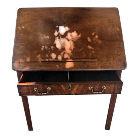 19th Century Georgian Antique English Mahogany Architects Desk Brass Pulls For Sale