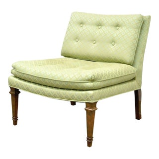 Vintage Hollywood Regency Green Upholstered & Wood Slipper Accent Side Chair