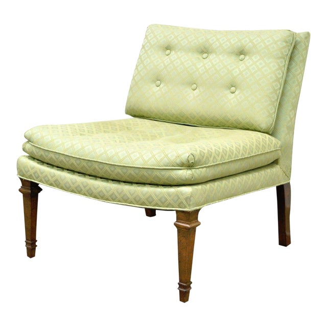 Vintage Hollywood Regency Green Upholstered & Wood Slipper Accent Side Chair For Sale