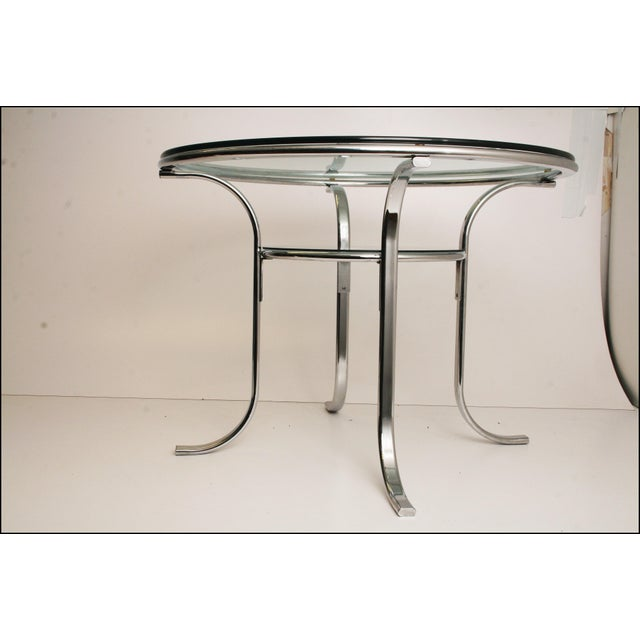 Mid-Century Modern Chrome & Glass Dining Table - Image 4 of 11